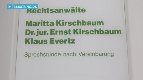 Filmreportage zu Maritta Kirschbaum (bis Juni 2015) Klaus Evertz  Rechtsanwälte