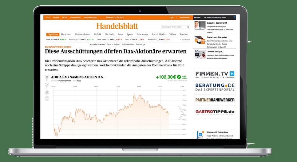 Profitieren Sie von unserem integrierten Auftritt auf Handelsblatt.com, WirtschaftsWoche.de und Tagesspiegel.de
