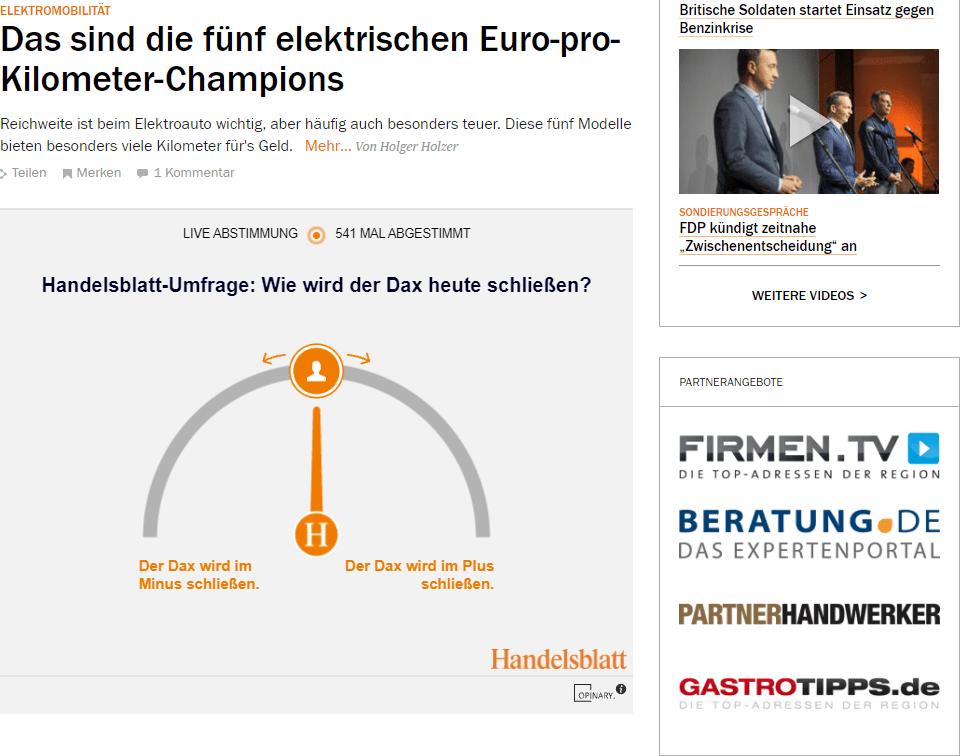 BERATUNG.DE auf der Startseite von handelsblatt.com